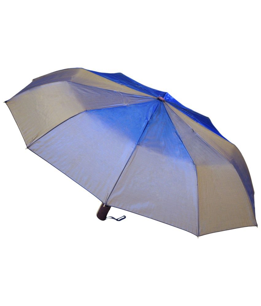 9d1ba80f69db4 Mohendra Dutt & Sons Blue Auto Open Three Fold Umbrella With Cover: Buy  Online at Low Price in India - Snapdeal