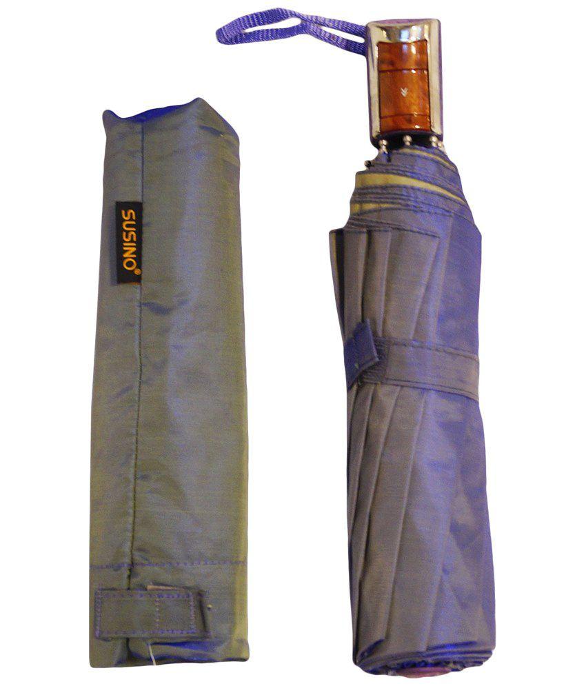 efab31942ae0b ... Mohendra Dutt & Sons Blue Auto Open Three Fold Umbrella With Cover