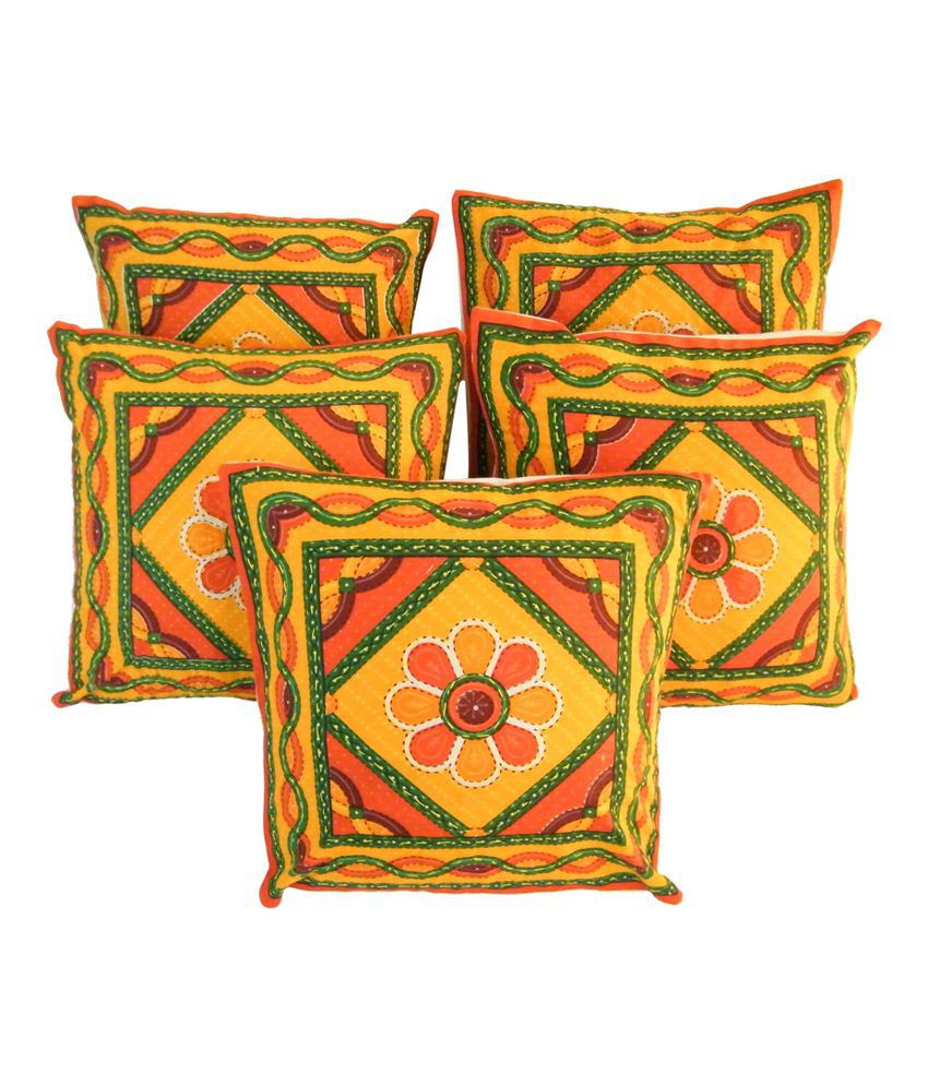 The Fancy Mart Multi-Colour Cotton Printed Cushion Cover