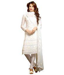 Fstore White Georgette Unstitched Dress Material