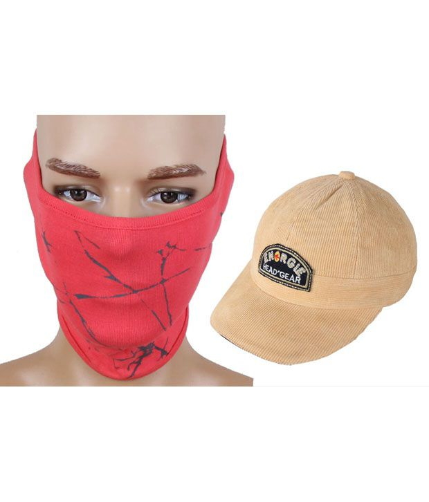 Jstarmart Fashion Red Face Mask With Codra Cap