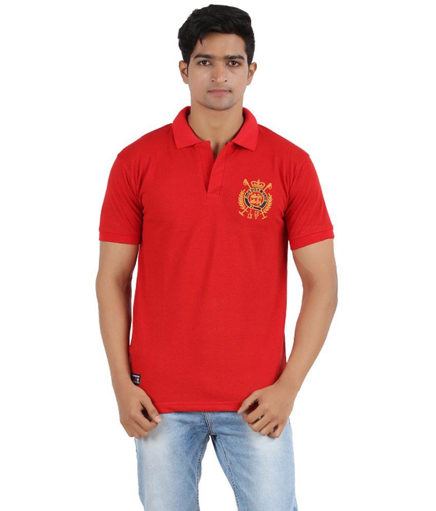 R - CROSS Red Cotton Half Sleeves V-Neck T-Shirt
