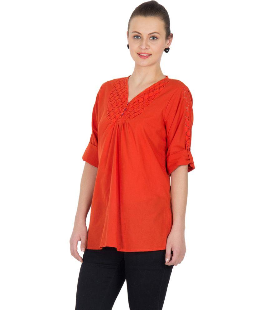 U&F Orange Cotton Tops - Buy U&F Orange Cotton Tops Online ...