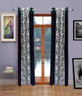 Homefab India Black Floral Door Curtains Set Of 8 (7x5 Feet)