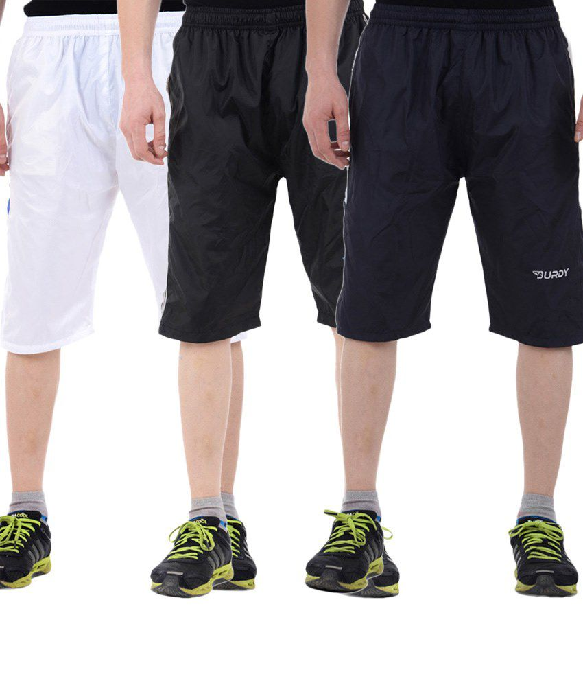 Burdy Incredible Multicolour Combo Of 3 Polyester Capris With Net