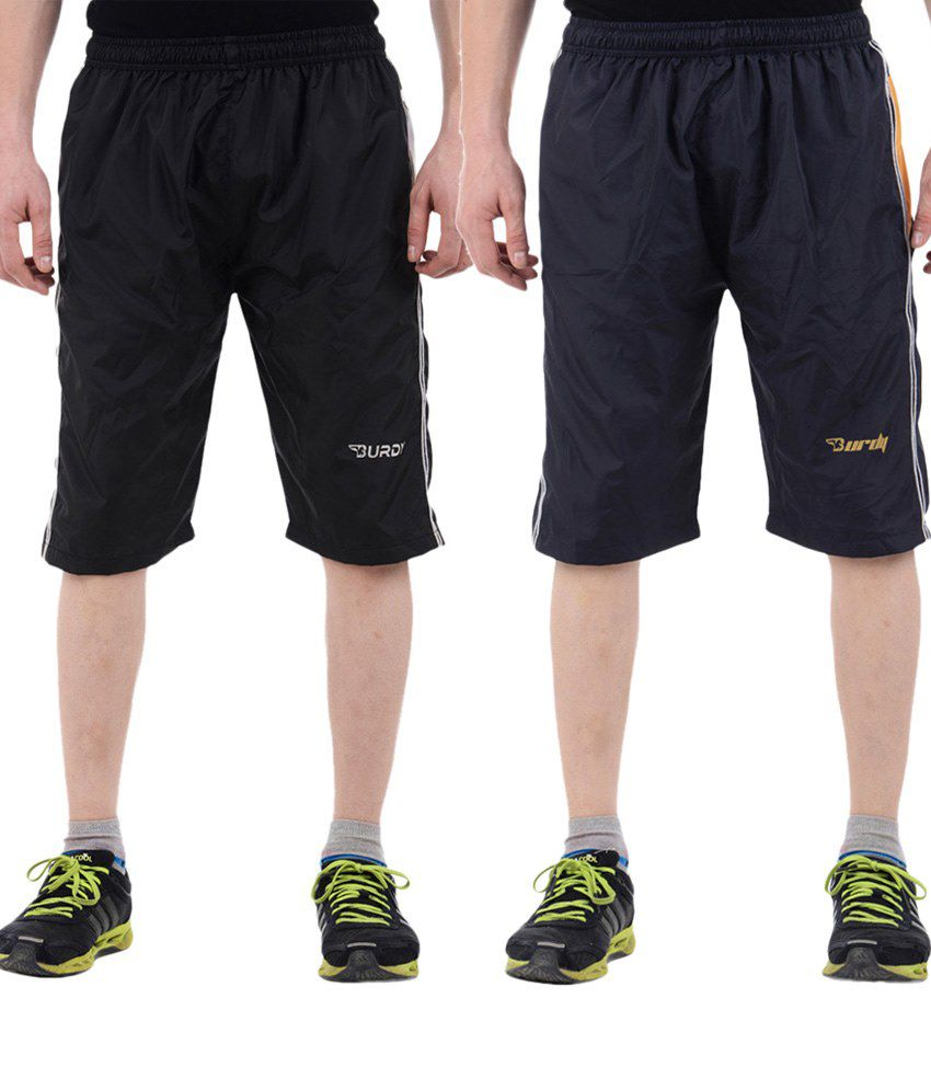 Burdy Valuable Combo Of 2 Navy Blue & Black Polyester Capris With Net