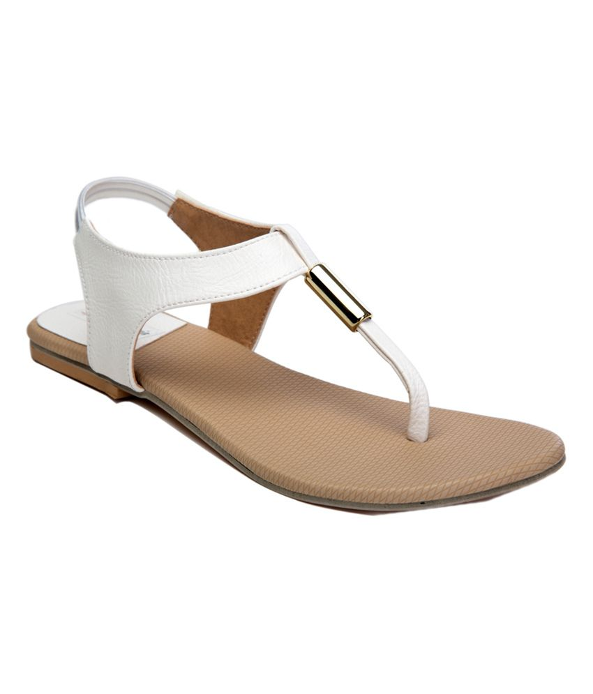 Maharaja White Faux Leather Small Back Strap Sandals