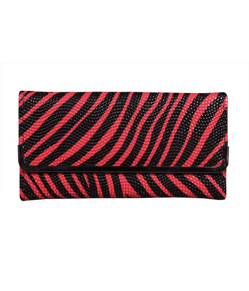 Top-zone Red And Black Non Leather Button Casual Regular Wallet For Women