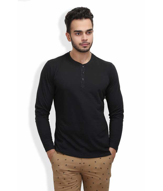 Wear Your Mind Long Sleeve Black Henley Neck