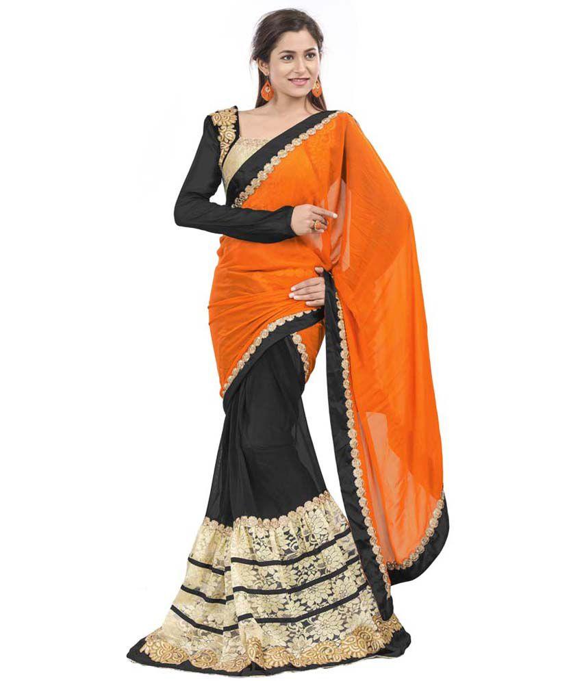 Aarnas Fashion Black Viscose Saree