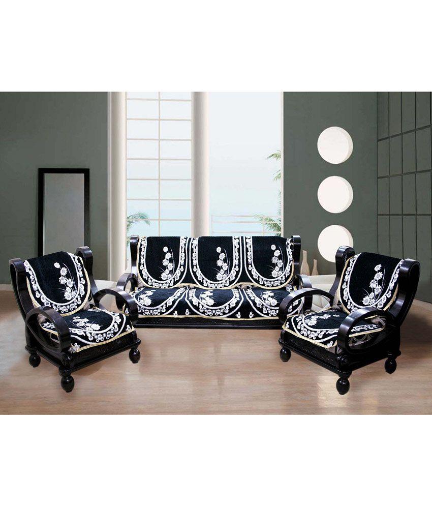 Fk White Black Floral Bush Design Sofa Slip Cover With Curtains