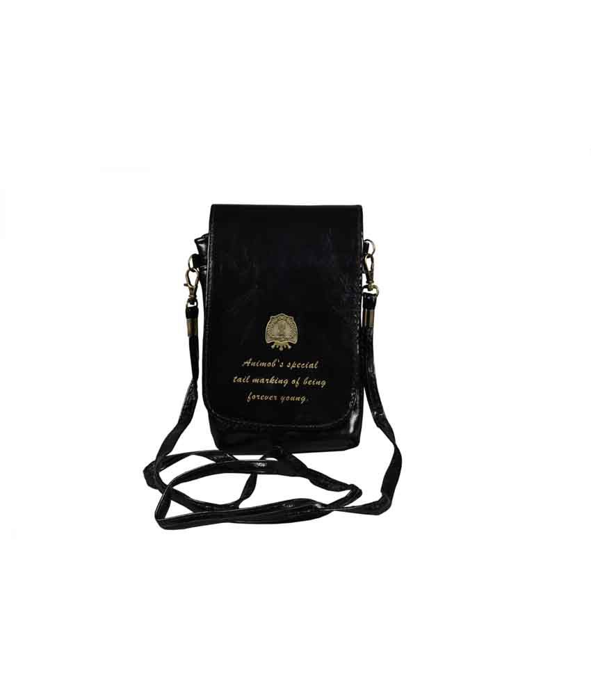 Top-zone Black Non Leather Magnit Button Sling Bag
