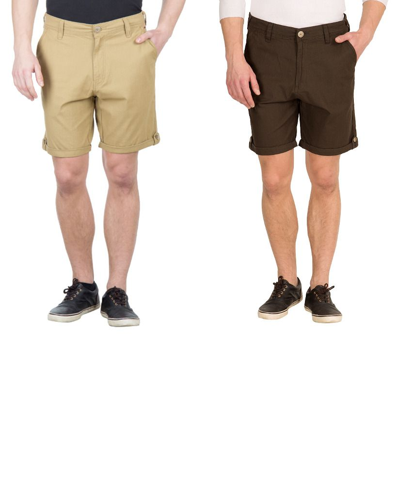 Wilkins & Tuscany Combo Of Beige And Green Cotton Shorts