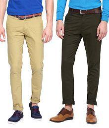 Ad & Av Pack Of Two 100 % Cotton Lycra Stratachable Trouser (One Khakhi & One Dark Olive Green) For Nex Gen.