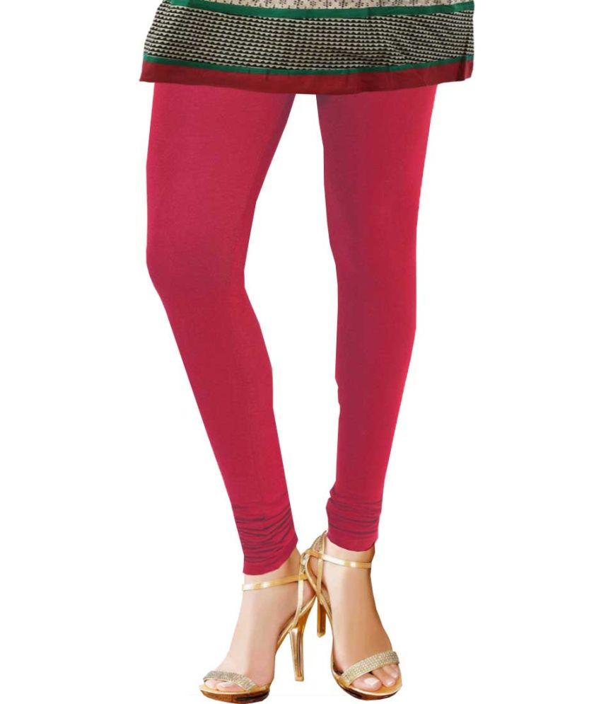 Avito Red Cotton Lycra Women'S Leggings -Xxl