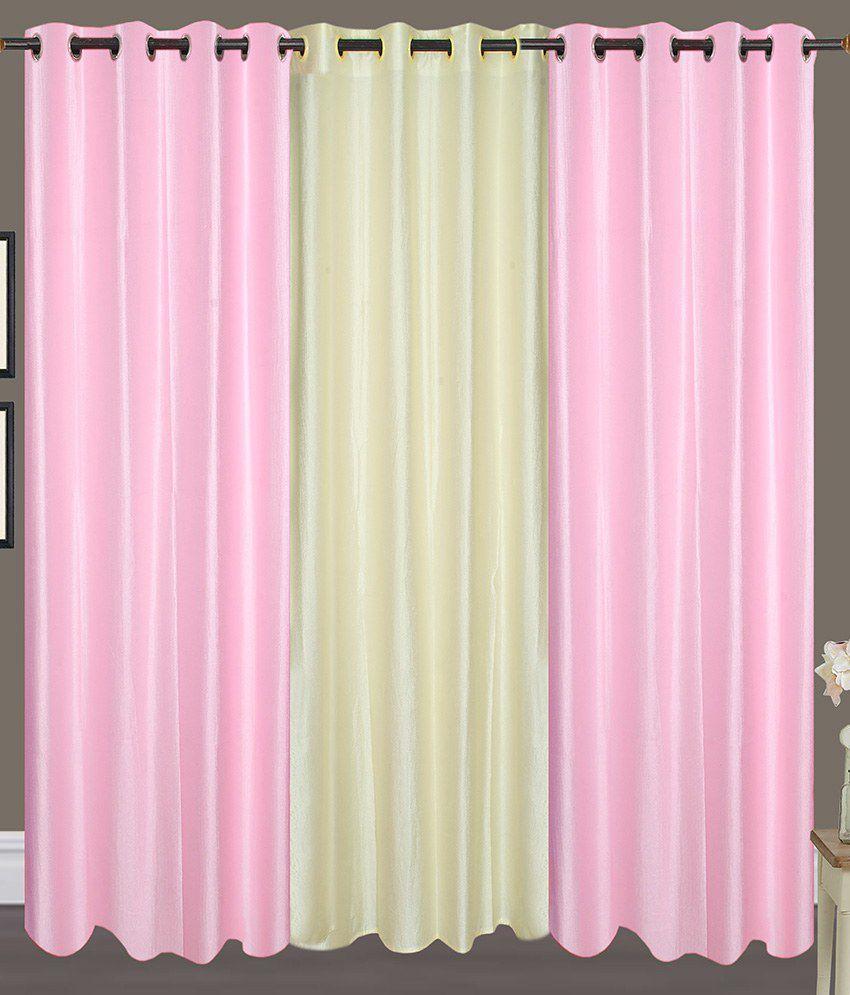 Handloom Hut Set of 3 Door Eyelet Curtains Solid White&Pink