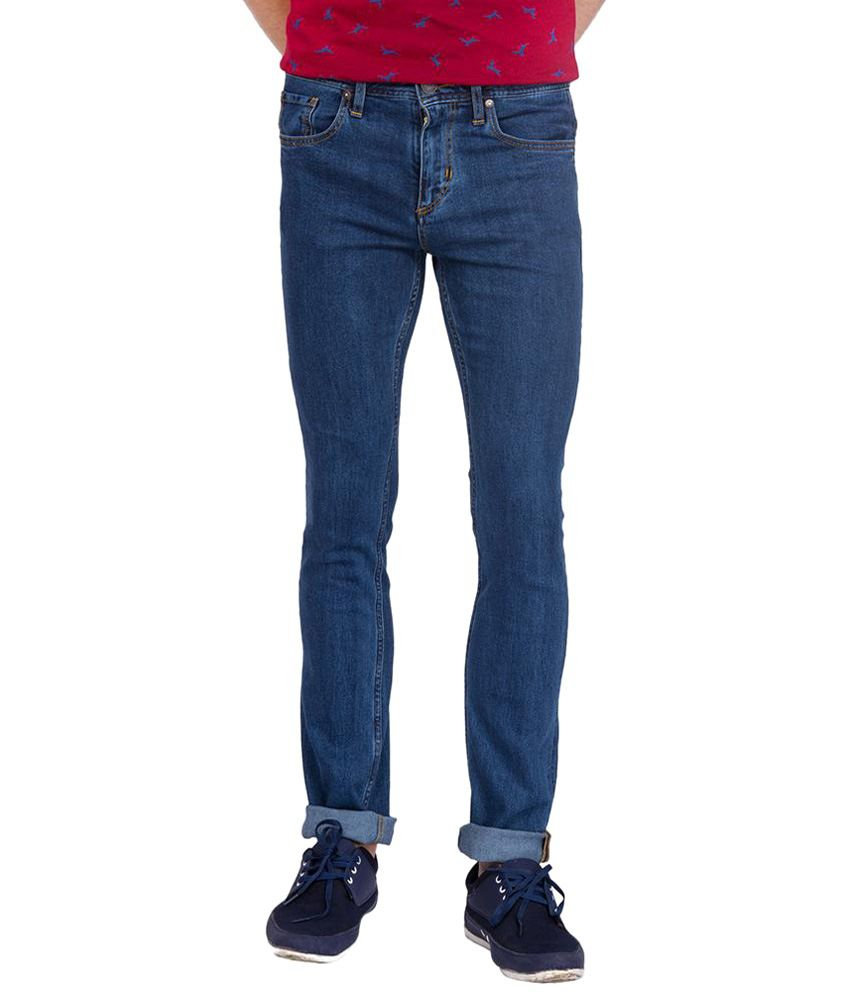 Slub Blue Cotton Basic Jeans For Men