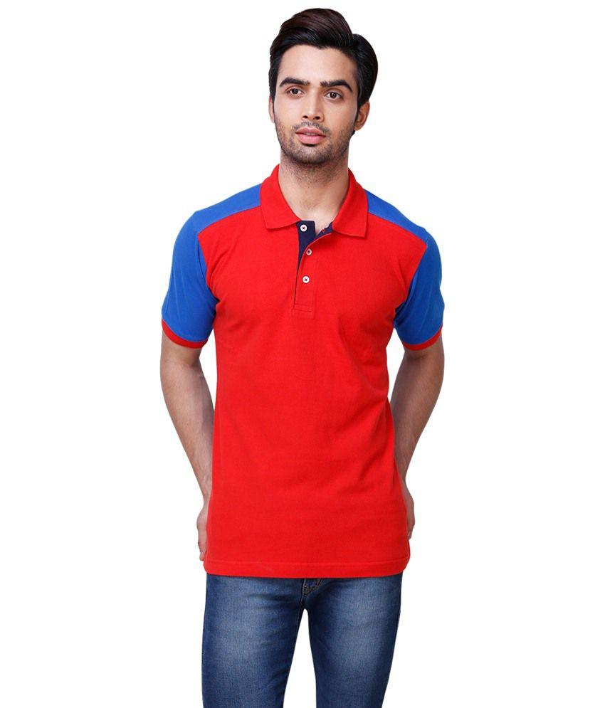 Yepme Red Blue Reverie Polo T Shirt For Men Buy Yepme
