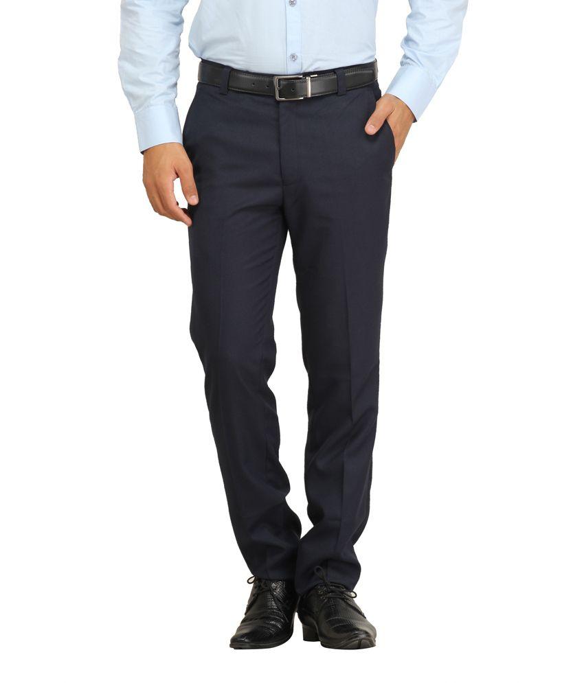 Feels's Good Blue Cotton Blend Regular Fit Flat Trouser