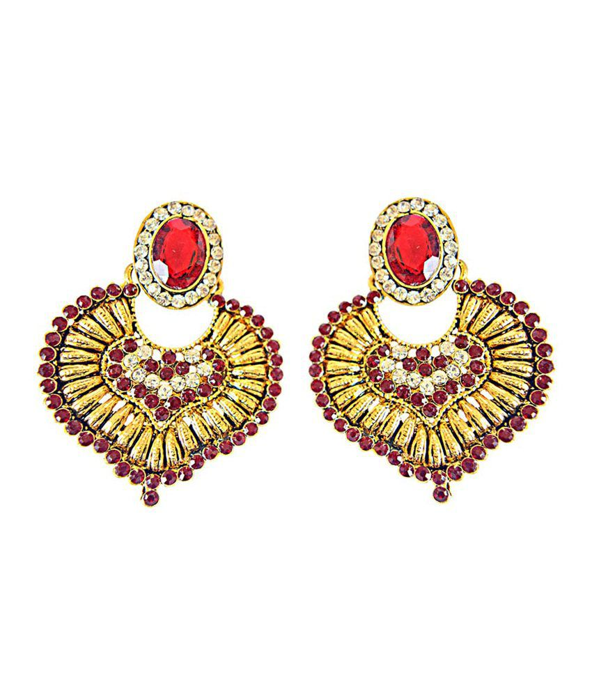Surat Diamond Red & White Colored Stone & Gold Plated Chand Bali Earrings