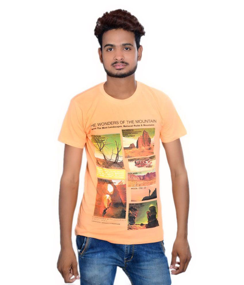 Takecare Orange Cotton Blend Round Neck Printed T-shirt