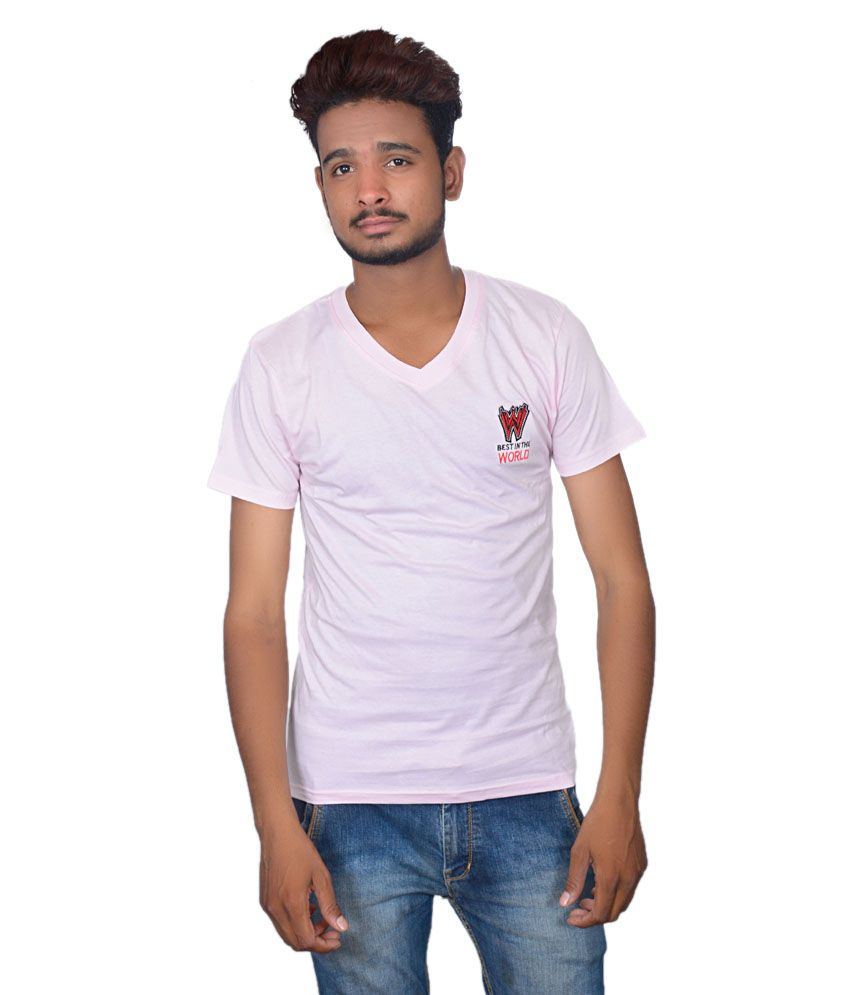 Takecare White Cotton Blend V-neck Printed T-shirt