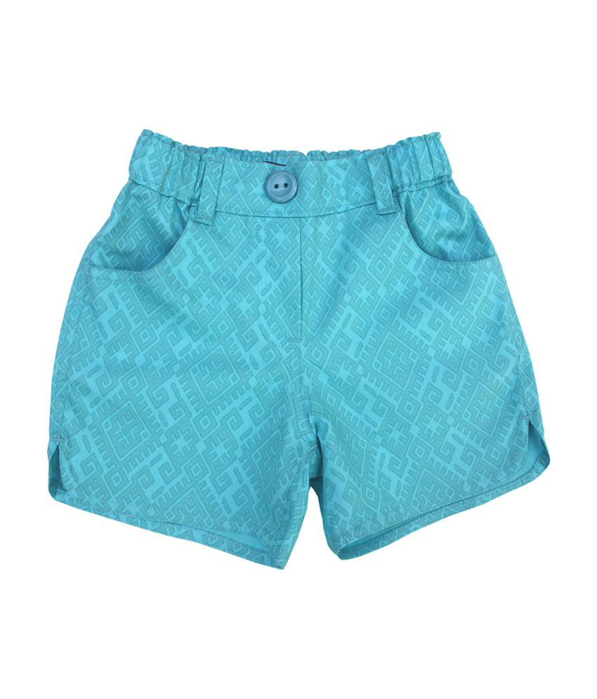 Campana Sky Blue Cotton Printed Girls Shorts