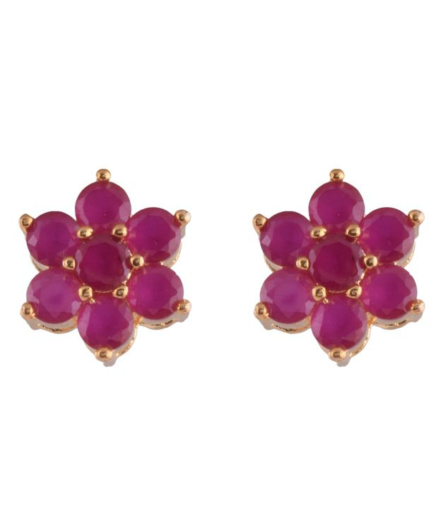 Ganapathy Gems 1 Gram Gold Plated Ruby Cz Stud