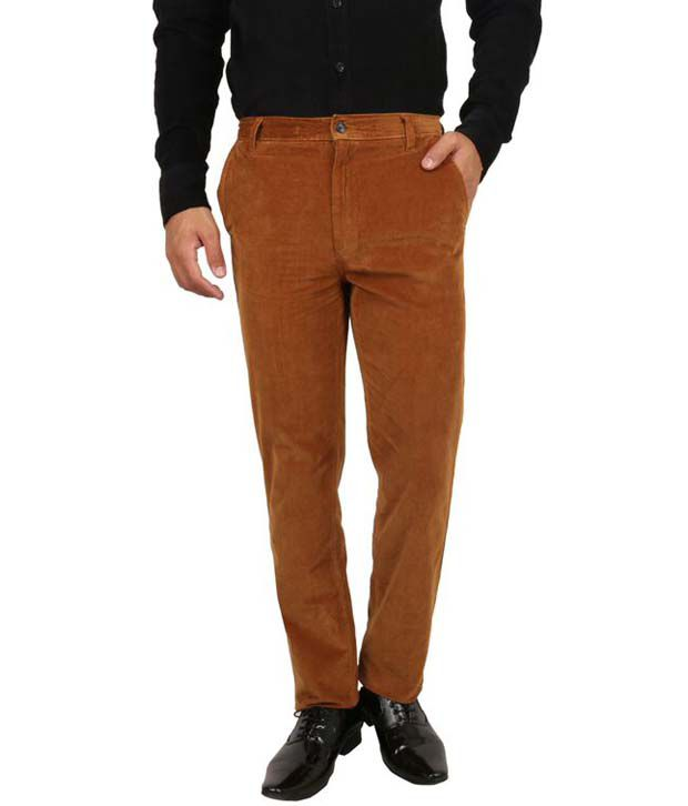 Maple Goldenrod Cotton Lycra Slim Fit Casual Trouser