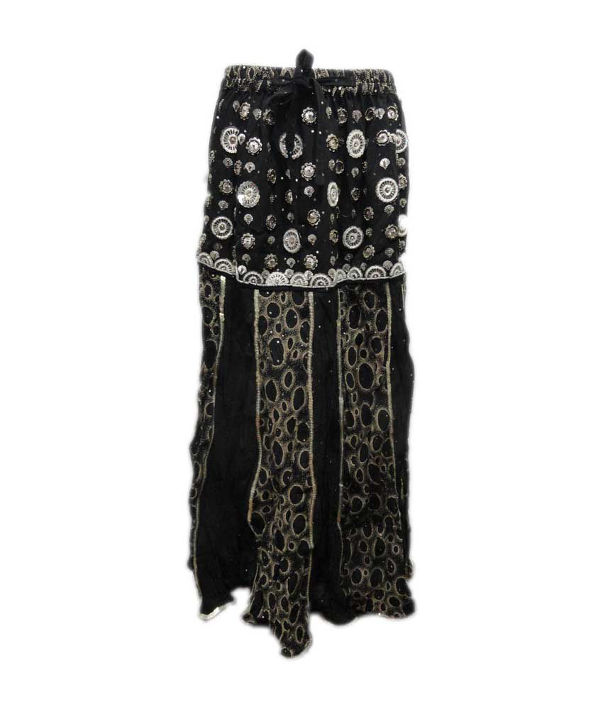 Threads Black Cotton Elastic Printed Skirts