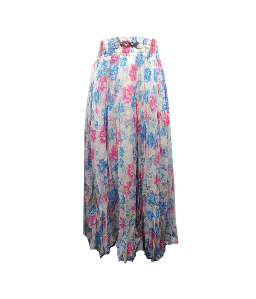 Threads Multi Color Silk Elastic Printed Skirts