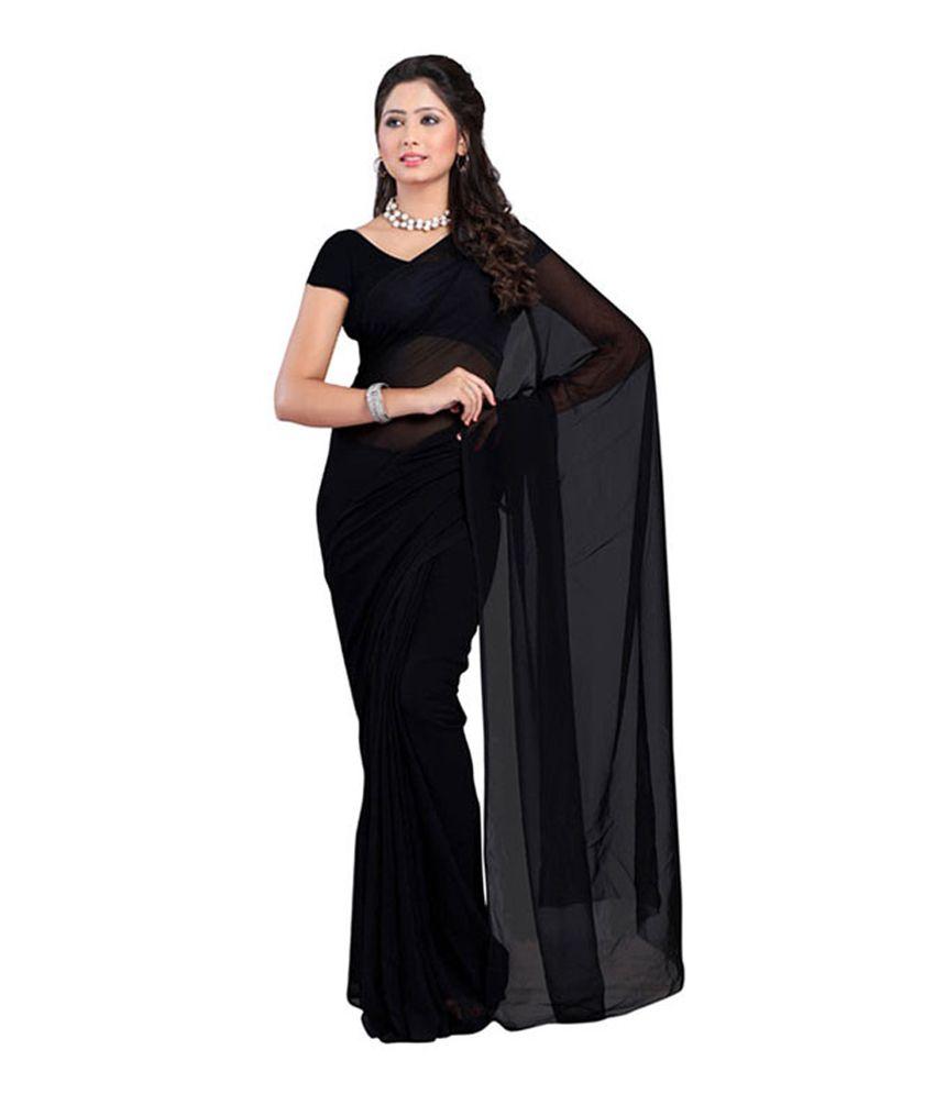 673addba4 K Sitara Georgette Women Black Color Plain Saree - Buy K Sitara Georgette  Women Black Color Plain Saree Online at Low Price - Snapdeal.com