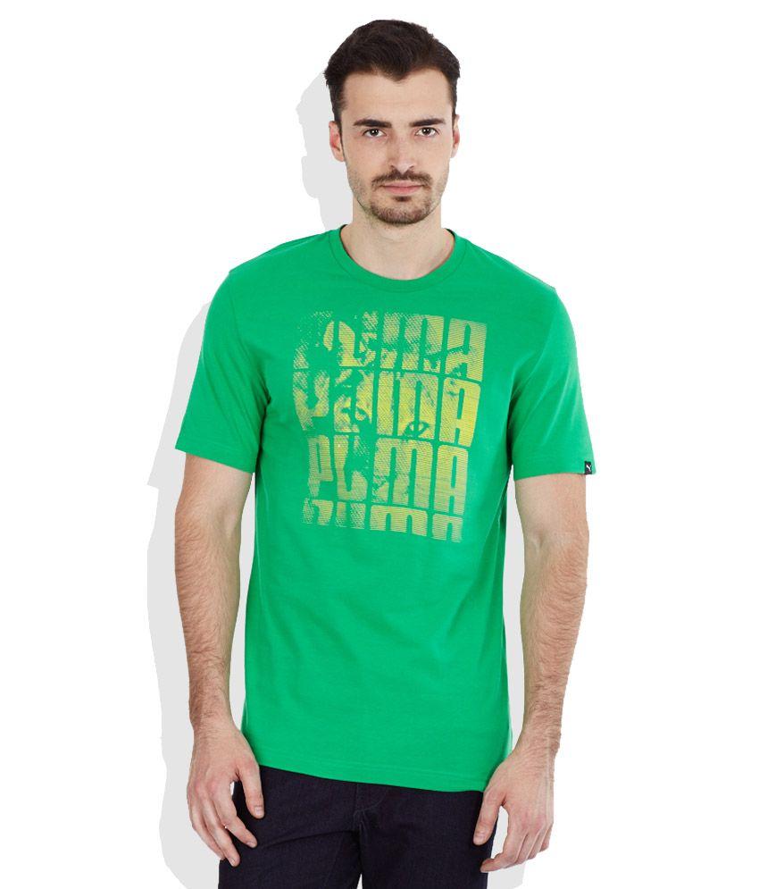 PUMA Green Round Neck T-Shirt