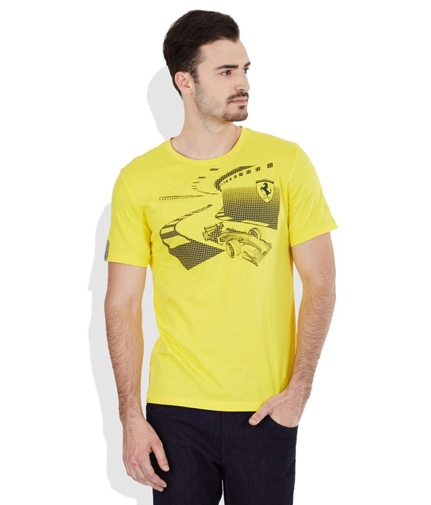 PUMA Yellow Round Neck T-Shirt
