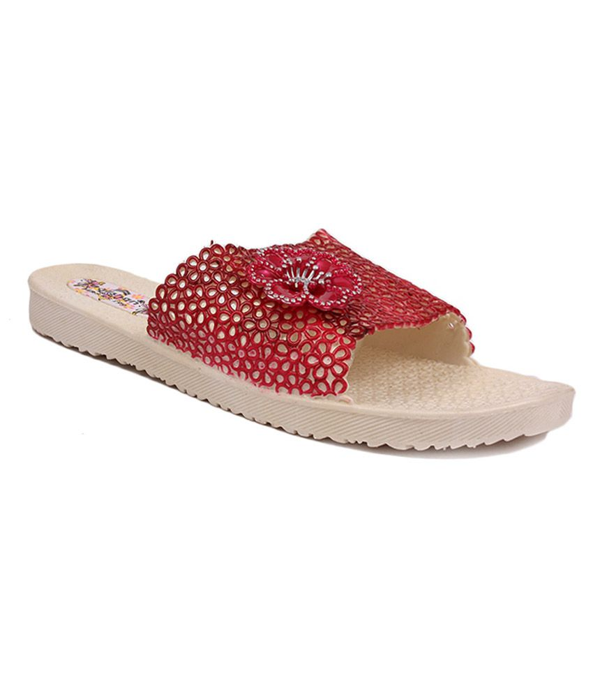 Aalishan Red and Beige Flat Slippers