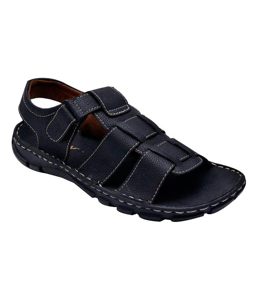 Bxxy Black Velcro Faux Leather Sandals