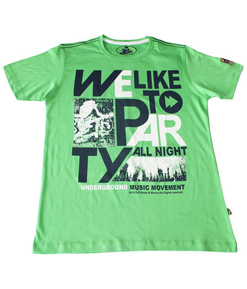 DJS Green & Black We Like To Party Half Sleeve T-shirt for Men