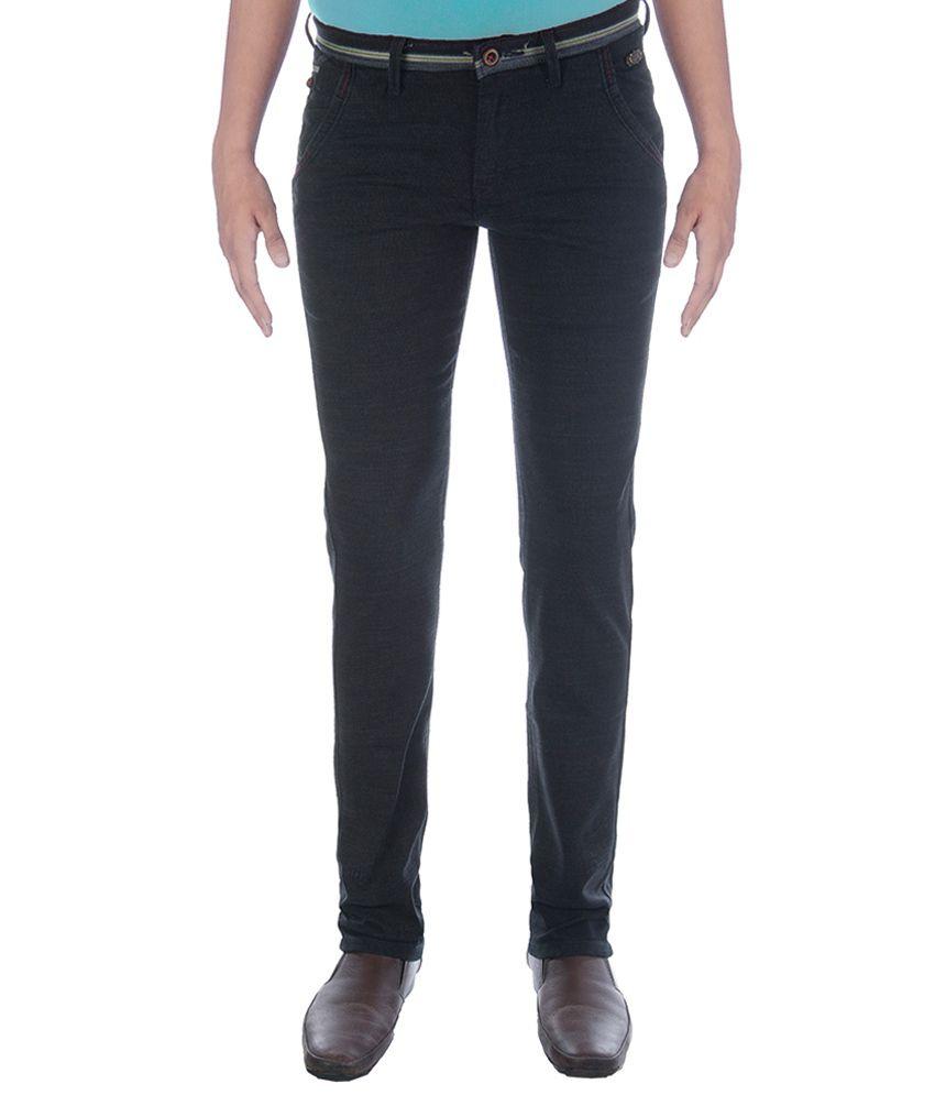 Urban Navy Black Cotton Lycra Casual Trouser