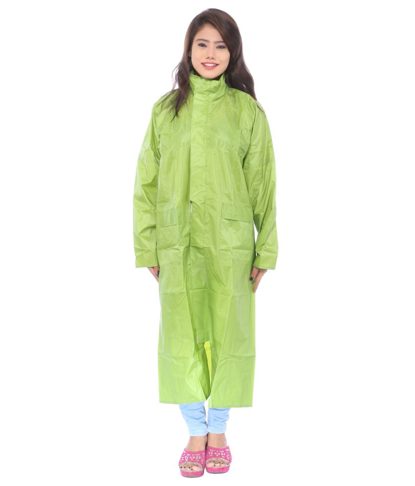 Cizara Green Polyester Full Long Raincoat For Women