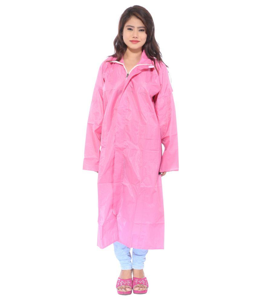 Cizara Pink Polyester Full Long Raincoat For Women