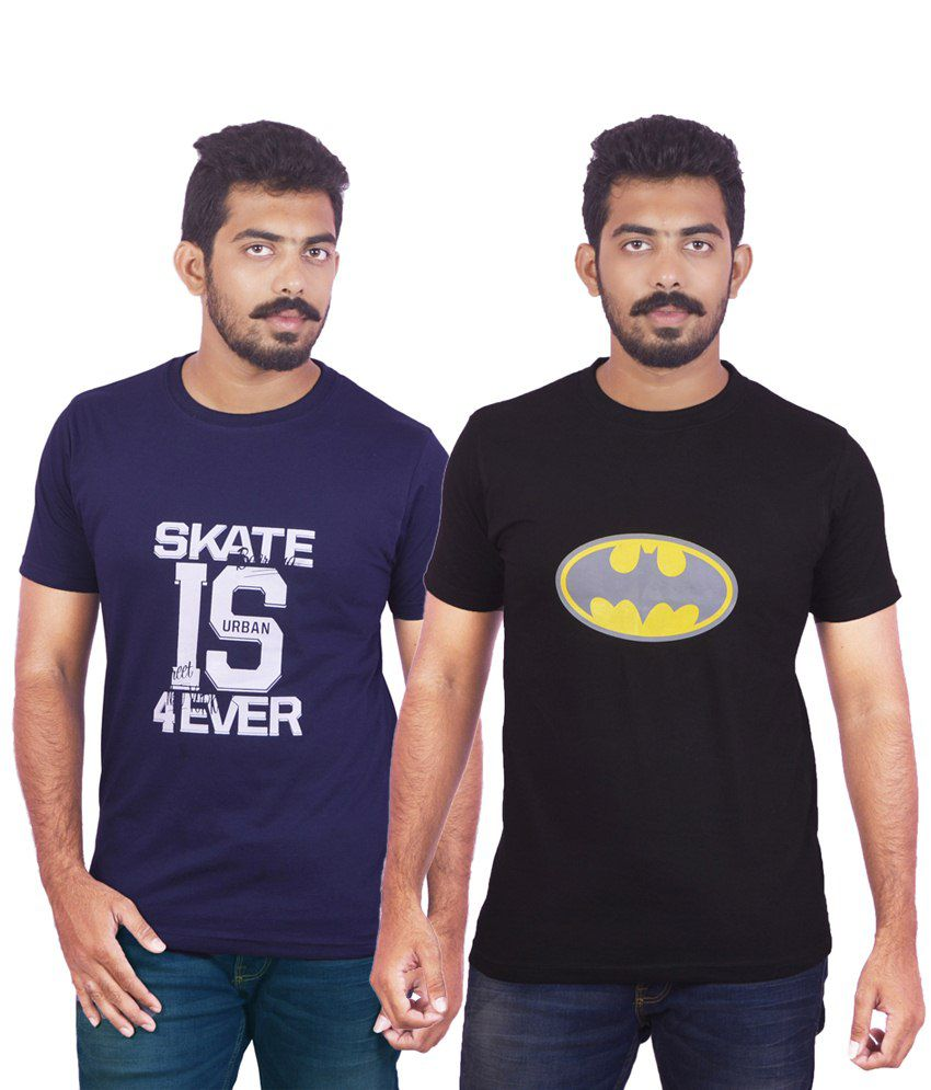 DK Clues Enhanced Combo Of 2 Blue & Black Half Sleeve Graphic T Shirts For Men