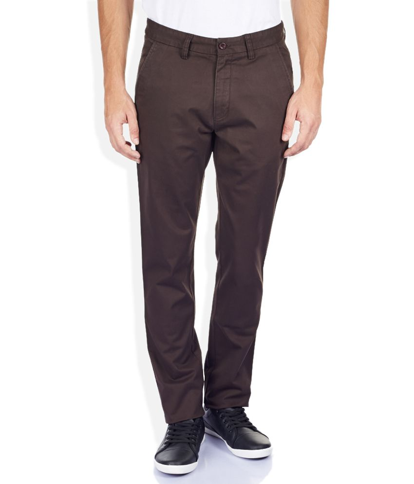 Izod Brown Tapered Fit Trousers
