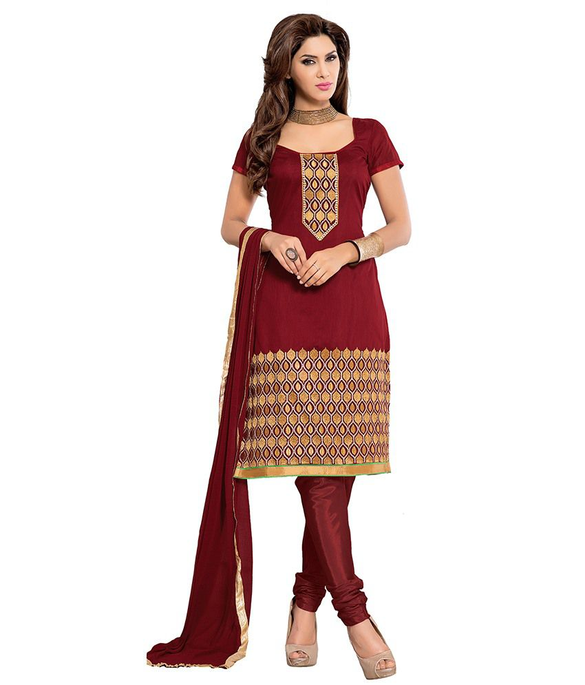 Saee Red Chanderi Unstitched Dress Material