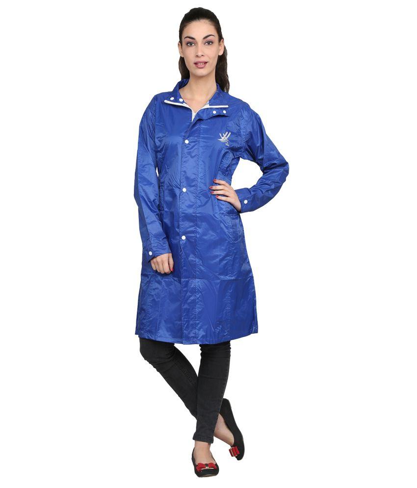 Zeel Blue Solid Knee Length Rain Coat