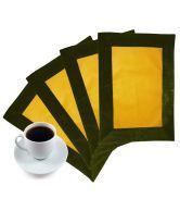 Zikrak Exim Foux Leather Patch Applied Border Place Mat Green & Yellow Set Of 4 Pcs