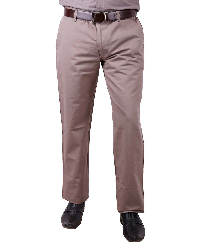 Colorzone Men's Formal Wear Beige Cotton Trouser