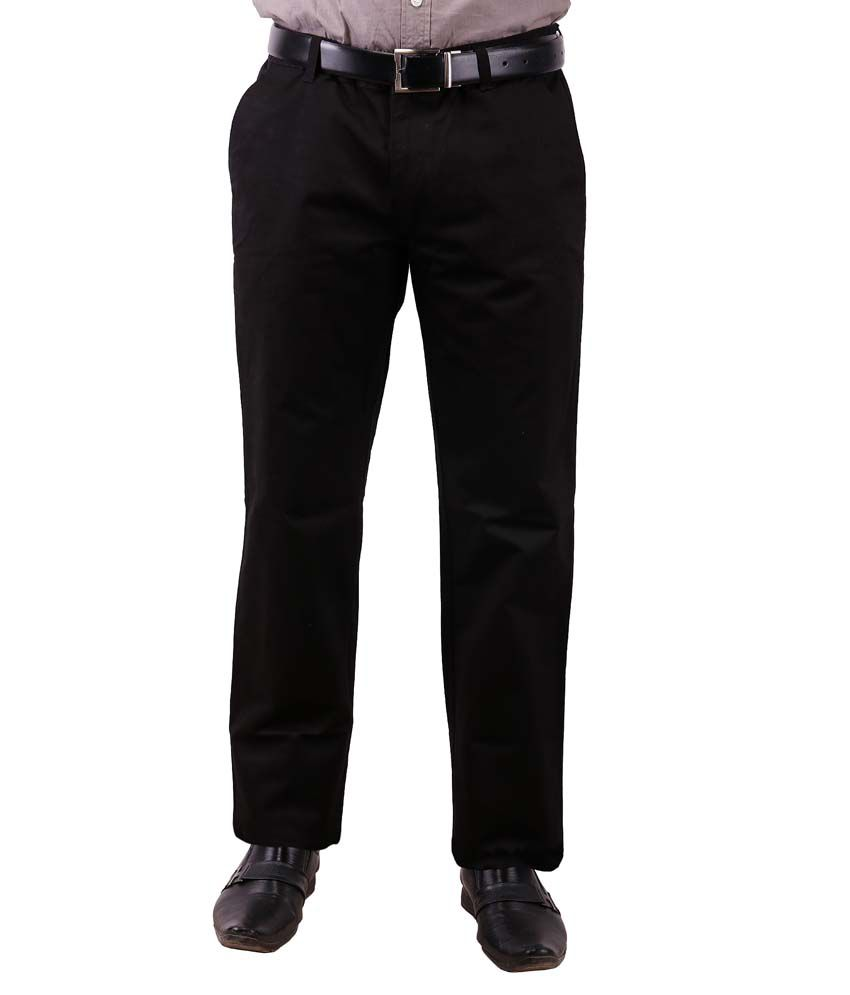 Colorzone Men's Formal Wear Navy Blue Cotton Trouser