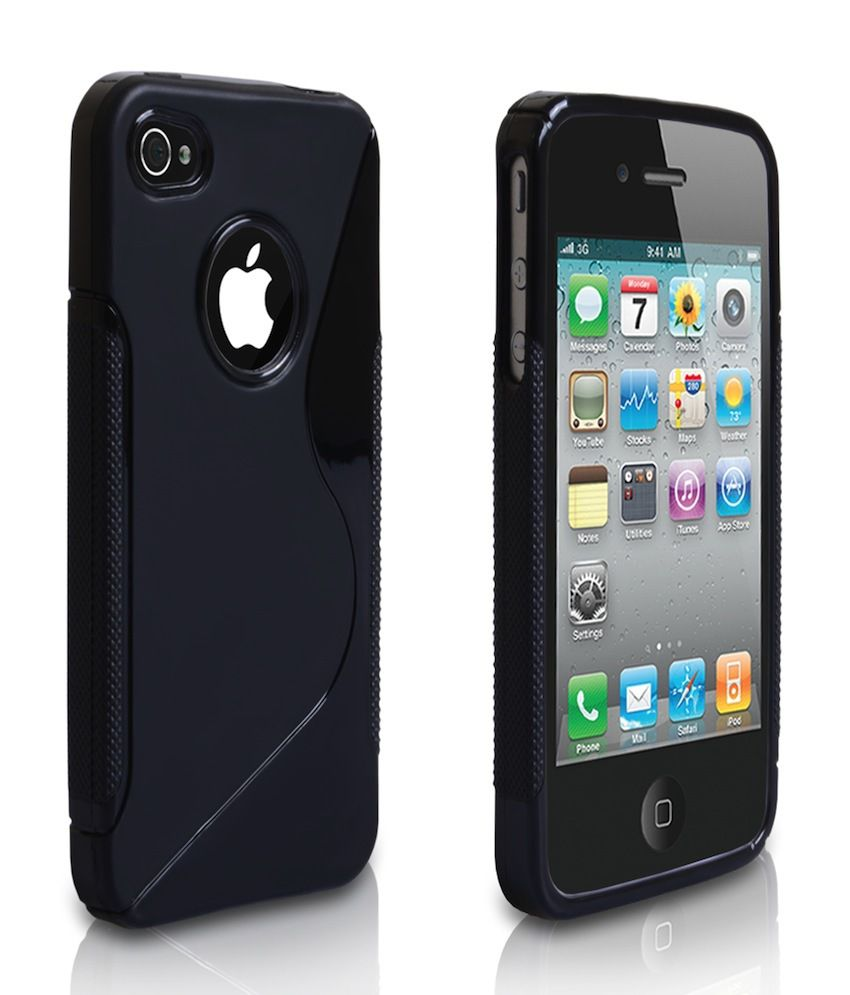low priced aaeab da5e4 Ezzeshopping Black Silicon Soft Case With Tempered Glass For Apple iPhone 4S