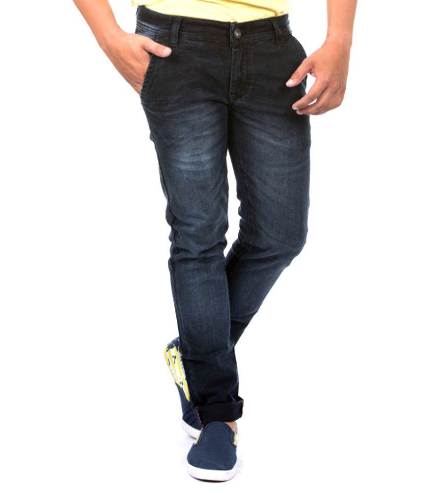 Jeanster Navy Cotton Blend Faded Slim Men Jean