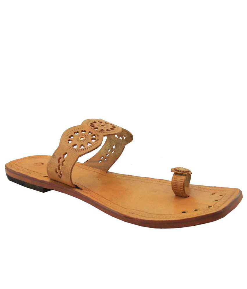 Jstarmart Brown Flat Faux Leather Kolhapuri Chappal